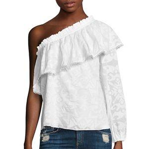 Parker Rihanna one-shoulder cotton lace ruffle top